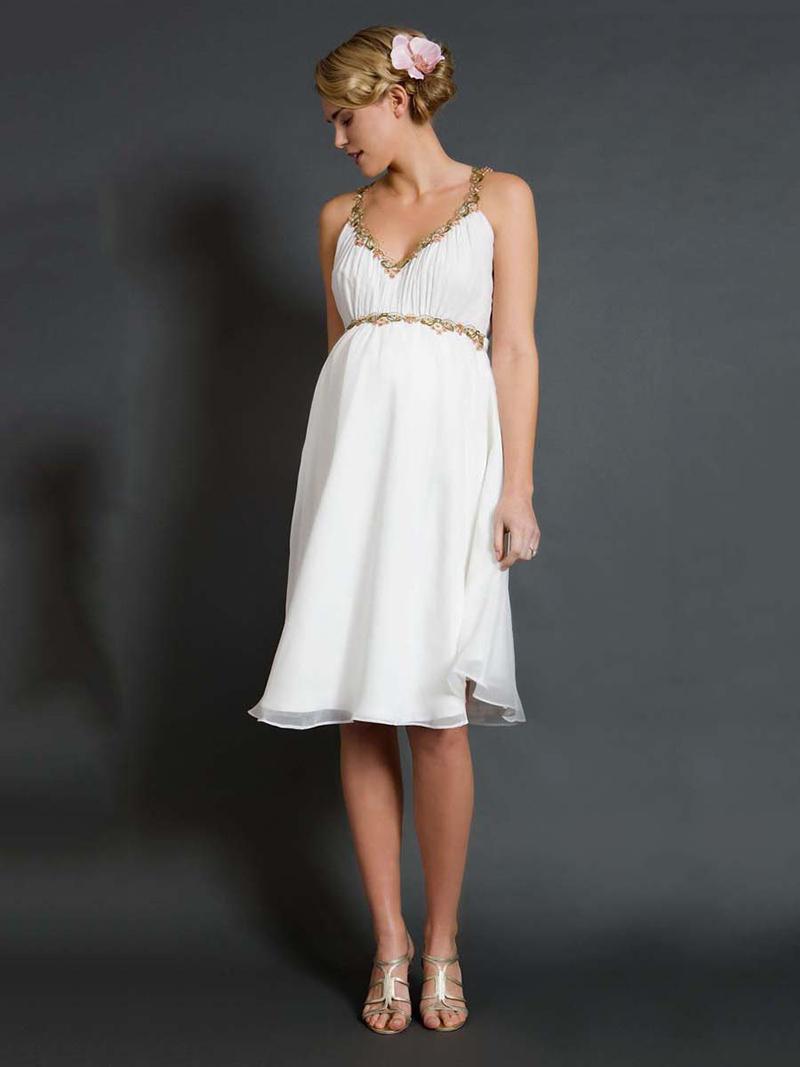 Модный белый сарафан для беременных женщин