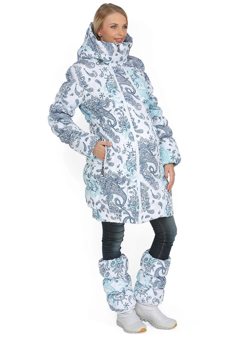 Модная длинная куртка для беременных с зимним узором