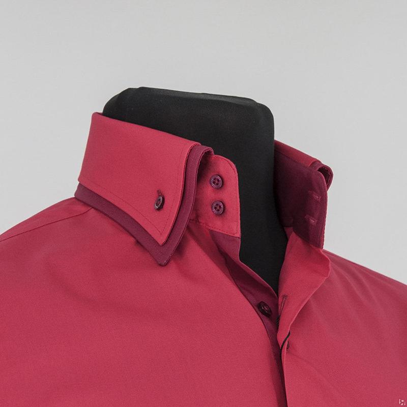 Красная мужская рубашка с двойным воротником – фото новинка сезона