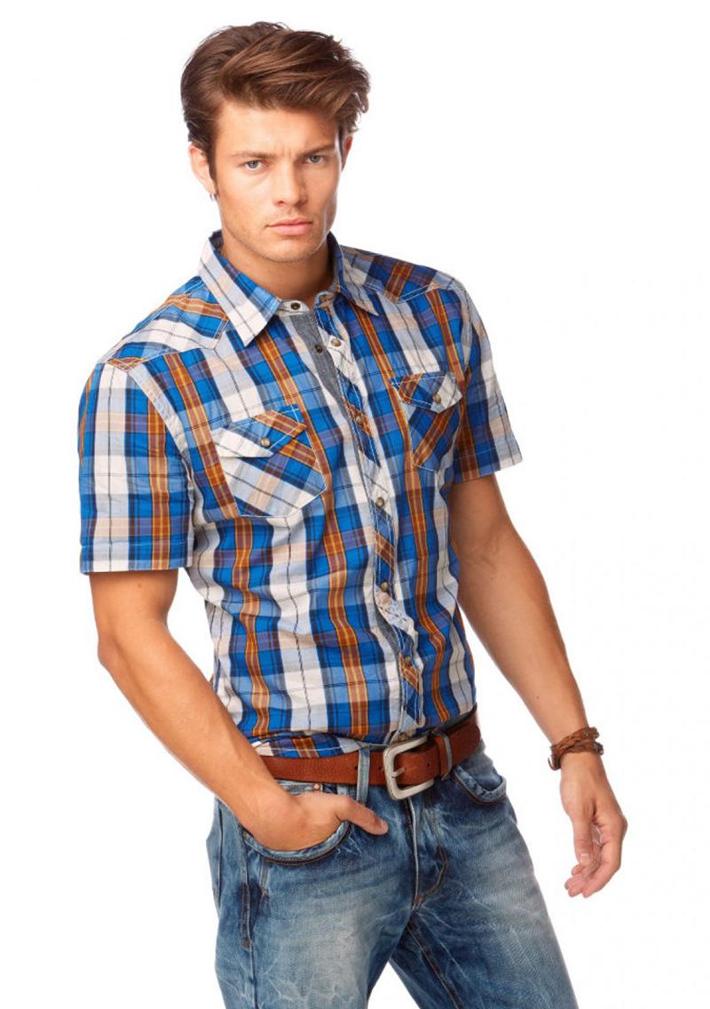Синяя мужская клетчатая рубашка