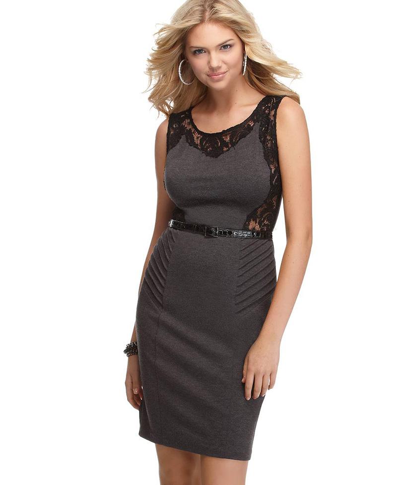 Фото: платье футляр с ремнем