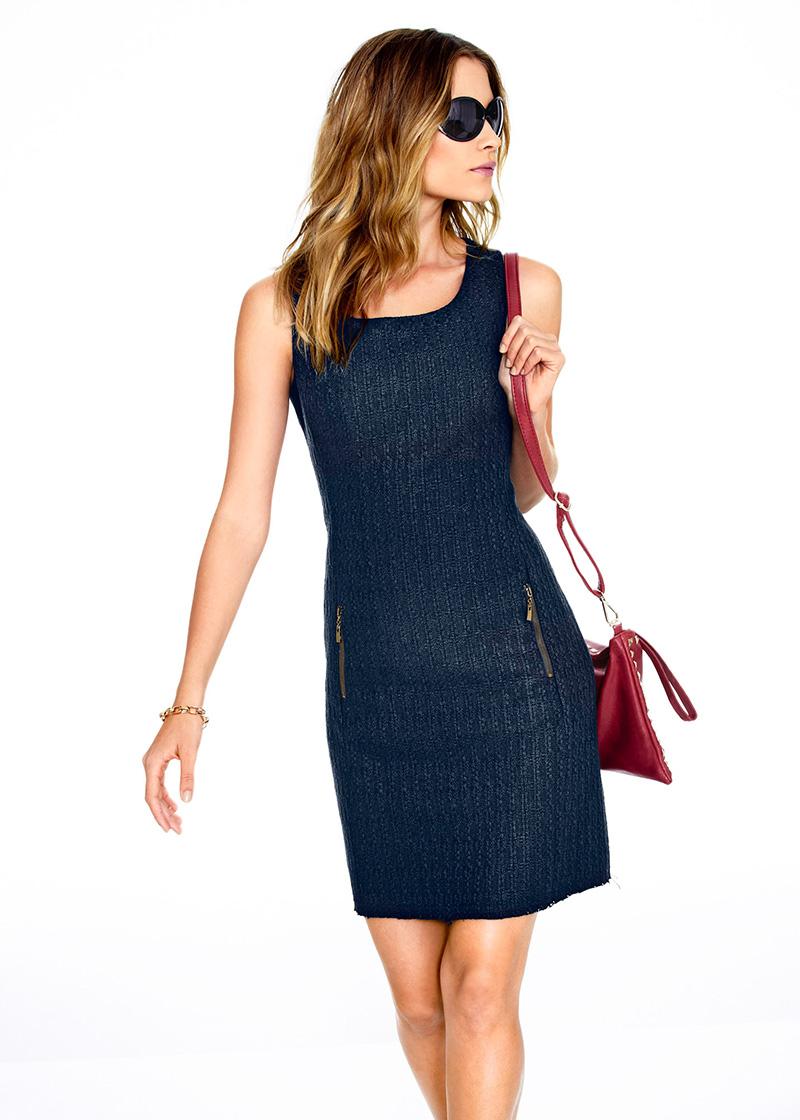 Темно-синее платье футляр – фото новинка сезона