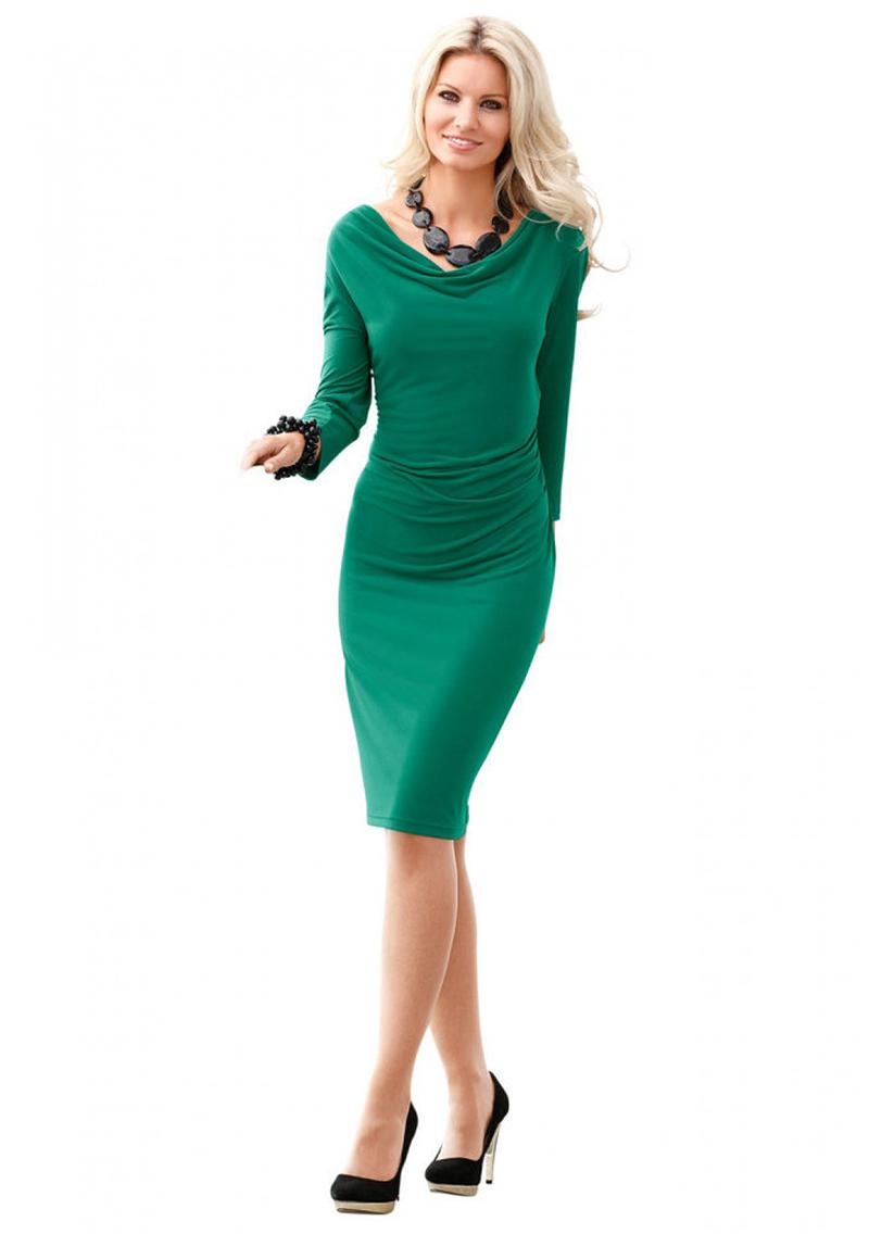 Зеленое платье футляр – фото новинка сезона