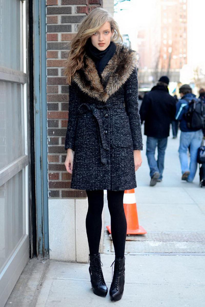 Модное пальто с мехом – фото новинка сезона