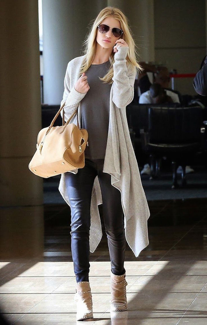 Фото модного кардигана с брюками и топом