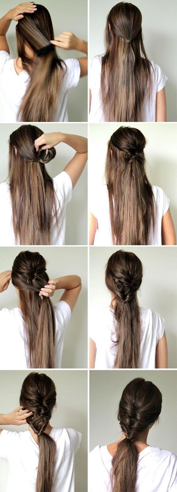 Прически на длинные волосы на каждый день своими руками фото в школу