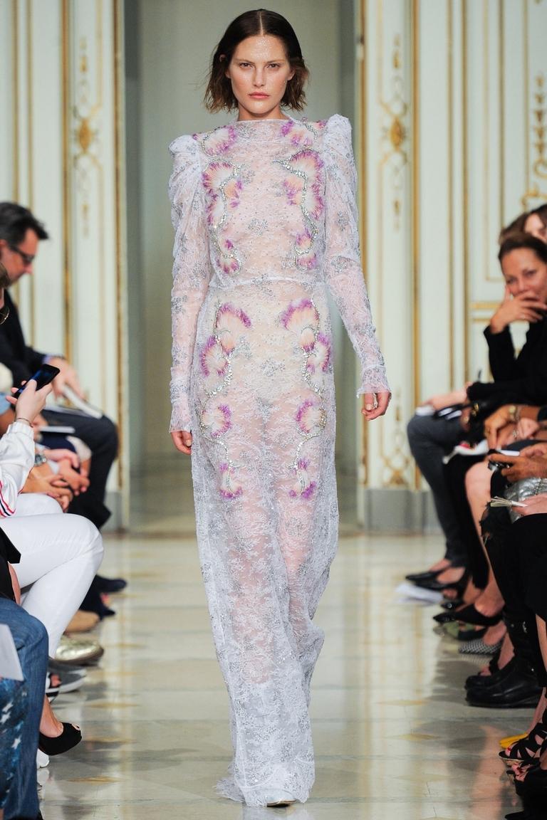 Нежное длинное модное платье с цветочным принтом Francesco Scognamiglio