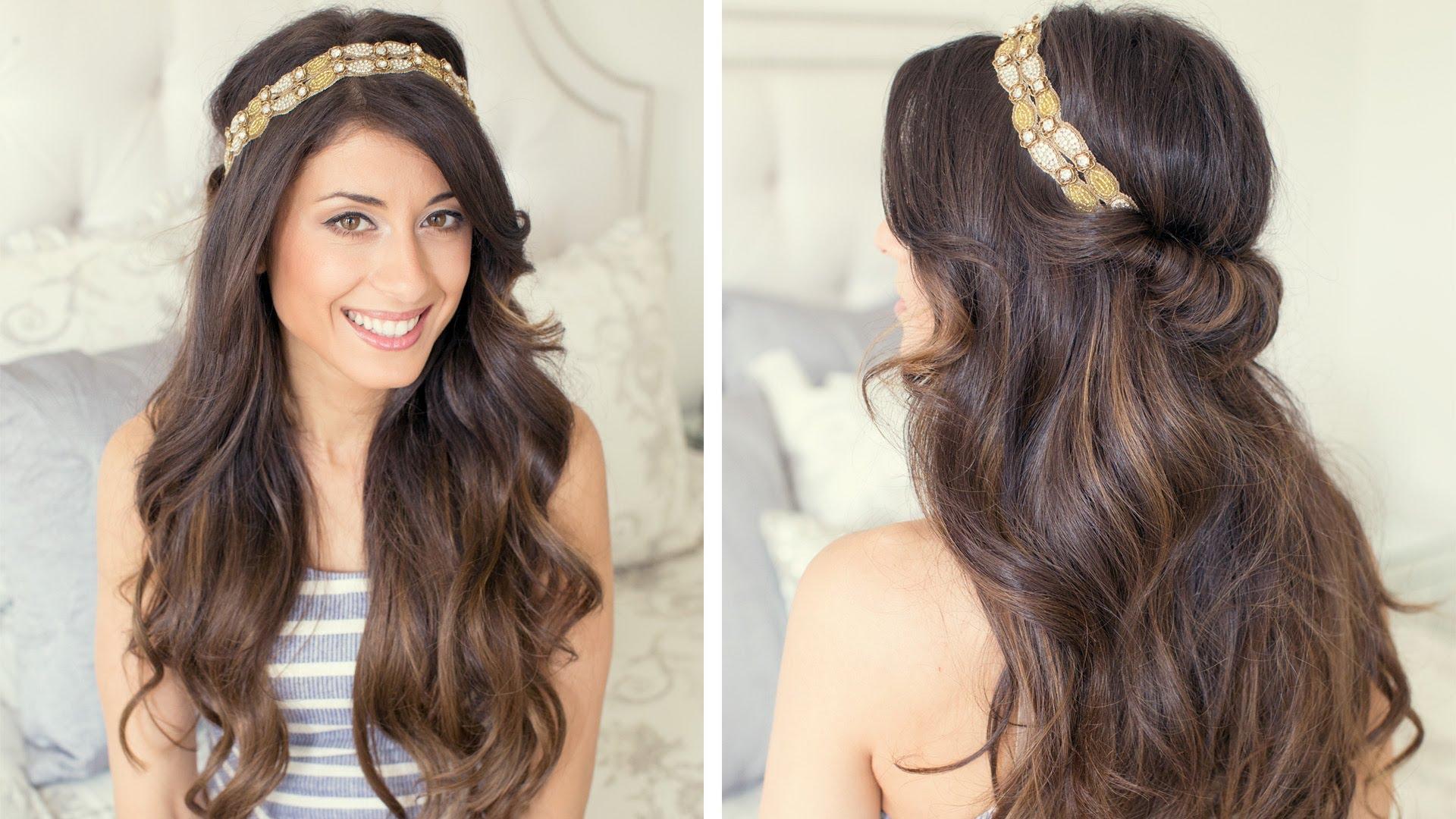 Греческая прическа с повязкой для длинных волос
