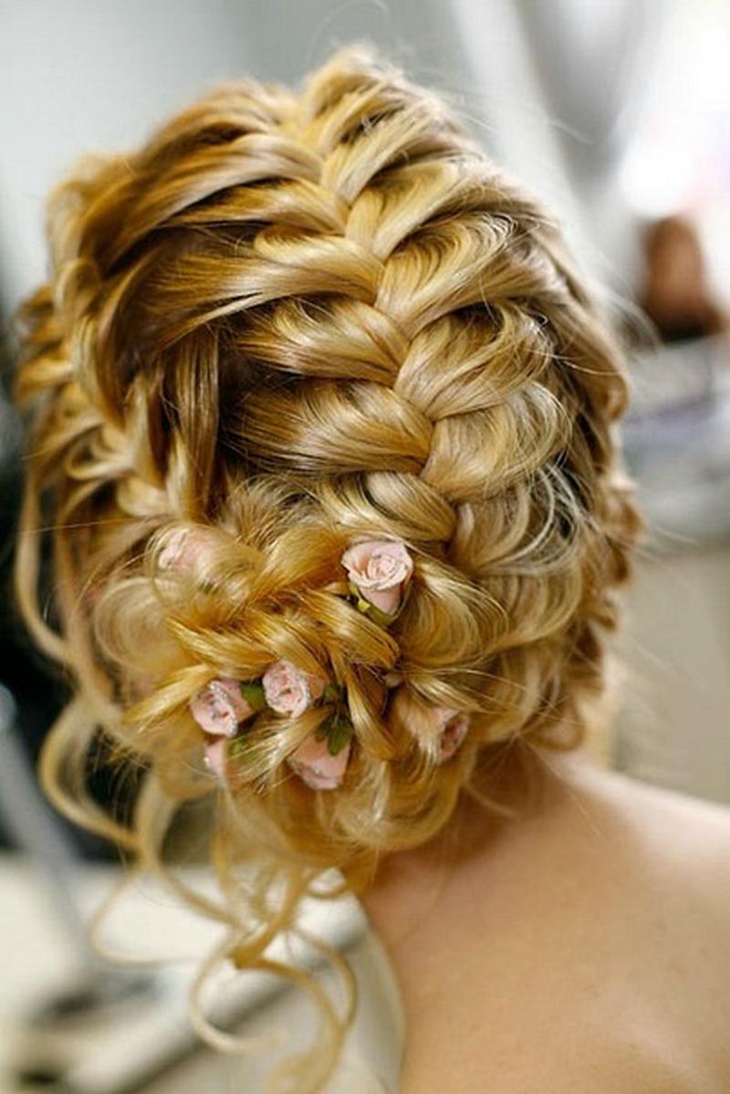 Круговая прическа французская коса