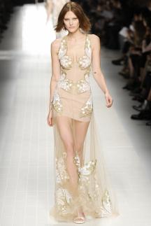 Длинное платье с прозрачной юбкой Blumarine