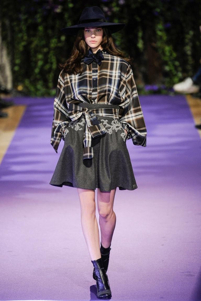 Модная юбка 2015 с рубашкой в клетку – фото новинка в коллекции Alexis Mabille