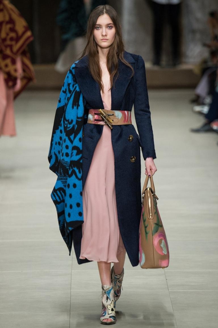 Синее модное пальто 2015 с поясом – Burberry