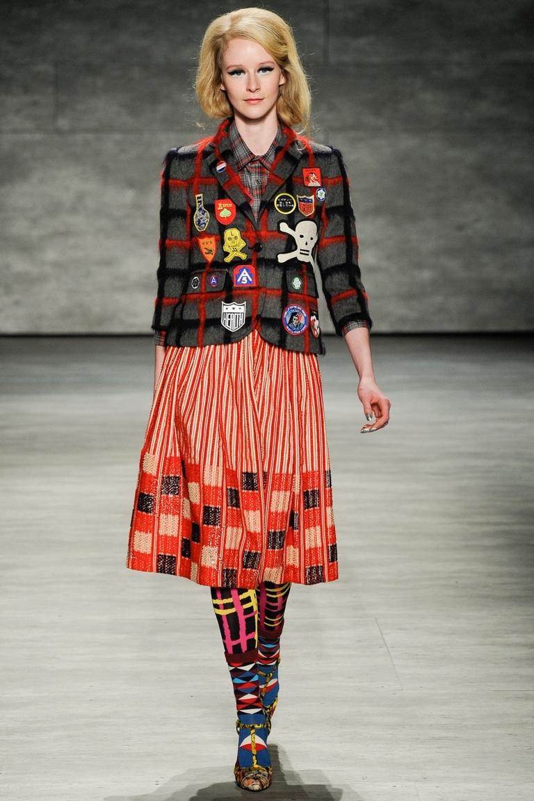Модная пышная юбка 2015 в полоску с квадратным принтом и пиджаком – фото новинка в коллекции Libertine