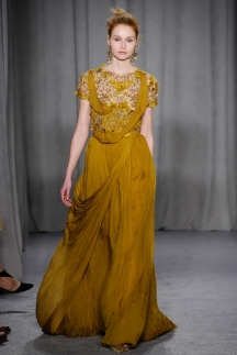 Длинное модное желтое платье осень-зима 2014-2015 – Marchesa