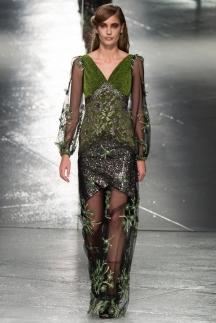 Длинное зеленое модное платье осень зима 2014-2015 – Rodarte