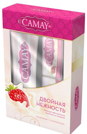 набор Camay «Клубника со сливками» (2 мыла + гель для душа)