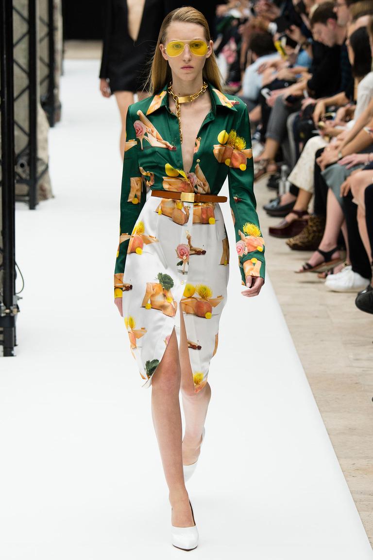 Зеленая модная блузка весна-лето с ярким принтом – Acne Studios