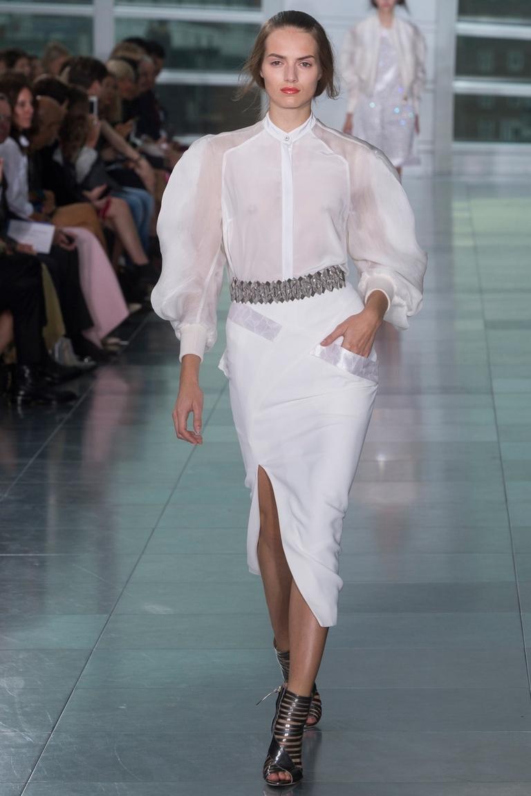 Белая длинная модная юбка с разрезом — фото новинки в коллекции Antonio Berardi