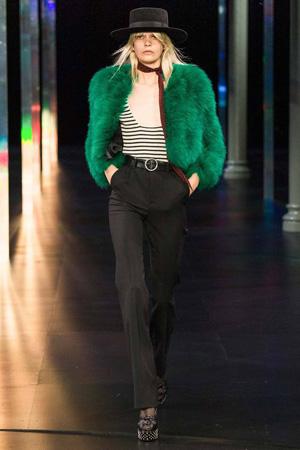 Зеленая меховая модная куртка весна лето 2015 – фото Saint Laurent