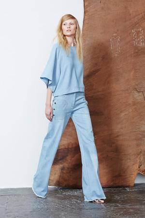 Голубые расклешенные джинсы весна лето 2015 – Ulla Johnson