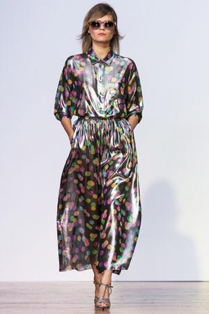Модная юбка 2015 в клетку с красивым голубым плащом – коллекция Alexander Terekhov весна лето 2015