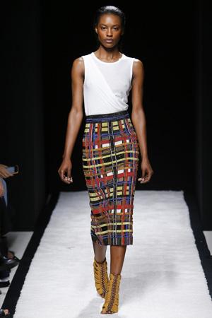 Модная юбка карандаш с разноцветной клеткой весна лето 2015 – Balmain