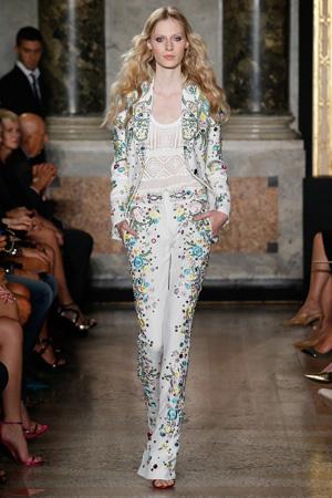 Яркий белый модный пиджак с рисунками весна лето 2015 Emilio Pucci