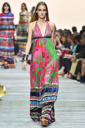 Яркое модное длинное платье весна лето 2015 – Roberto Cavalli