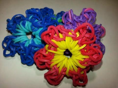 Браслет из резиночек с цветком