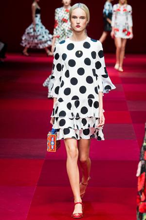 Платье в крупный горошек от Dolce & Gabbana 2015