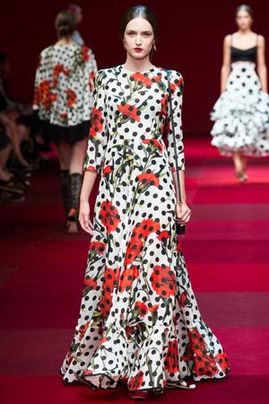Длинное платье в горошек с цветочным принтом – мода весна лето 2015 Dolce & Gabbana