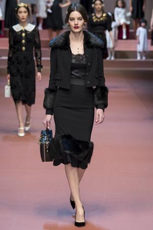 Юбка и куртка с меховой отделкой – Dolce & Gabbana осень-зима 2015-2016