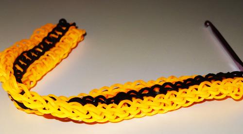 Схема плетения Георгиевской ленточки из резинок на станке