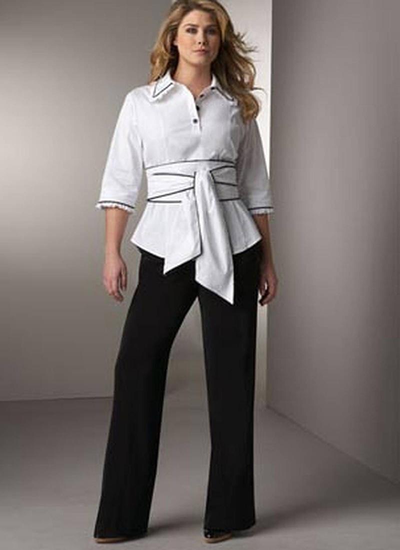 Фото модного брючного костюма для полных женщин