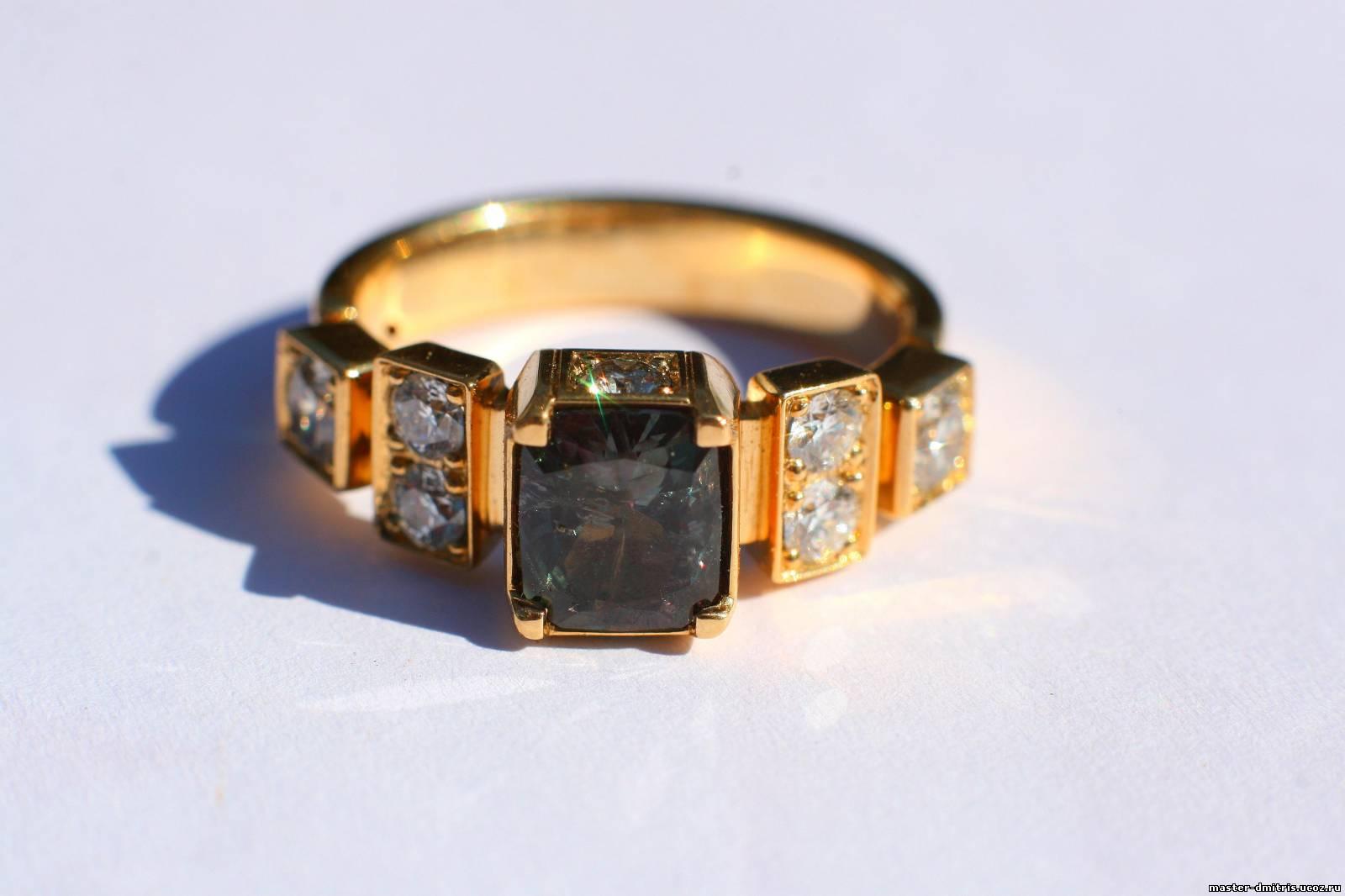 Кольцо с камнем александрит