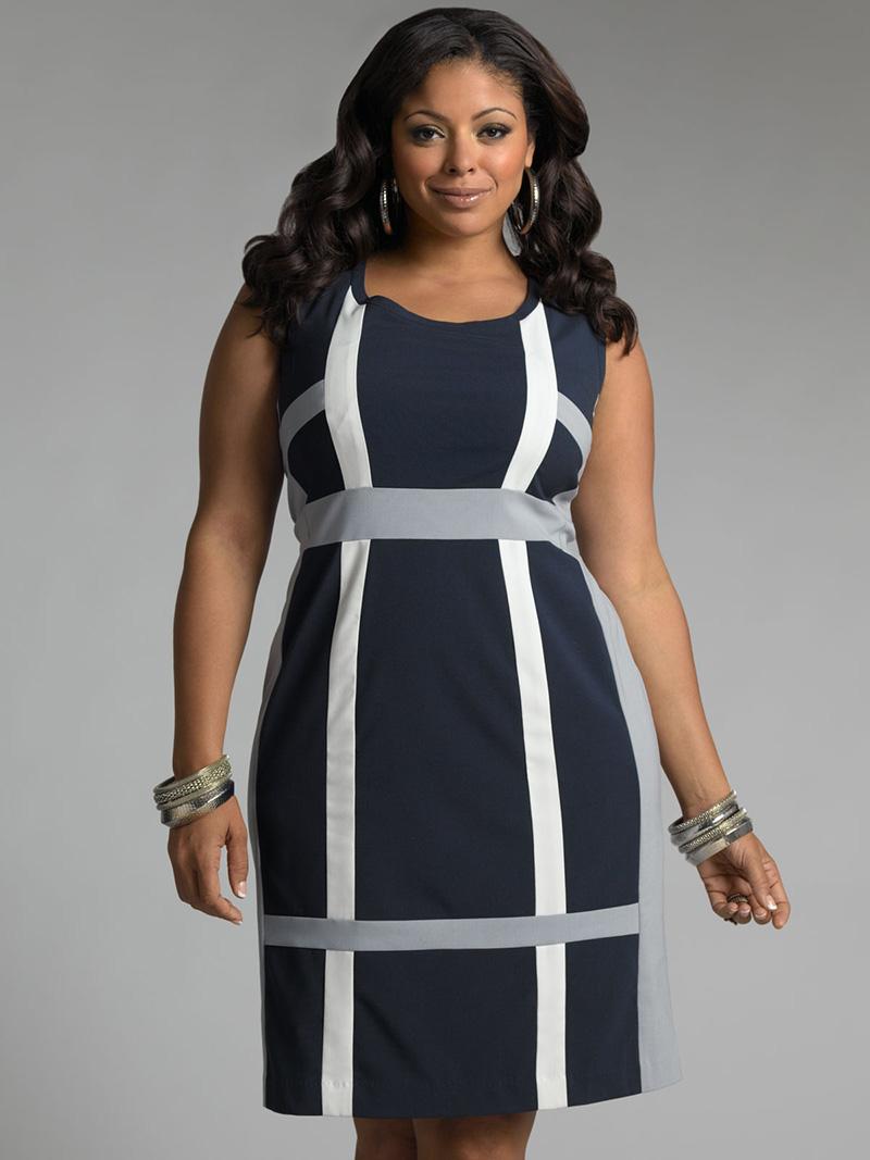 Мода для полных женщин: приталенное платье