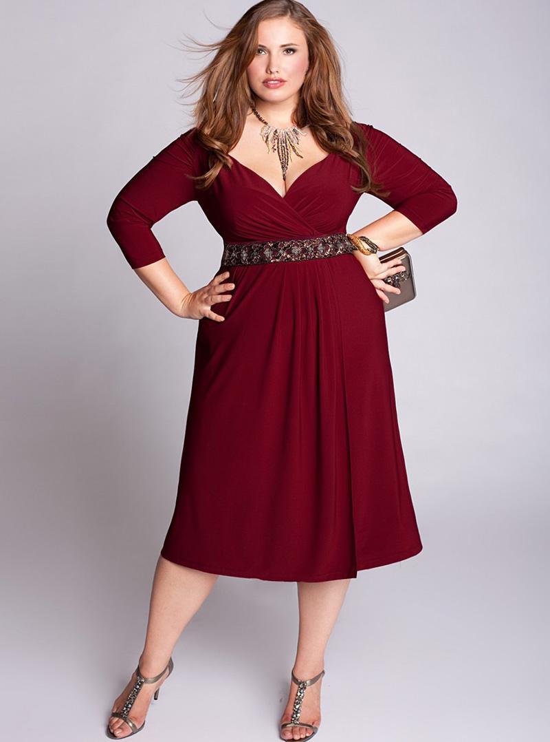 Бордовое платье больших размеров