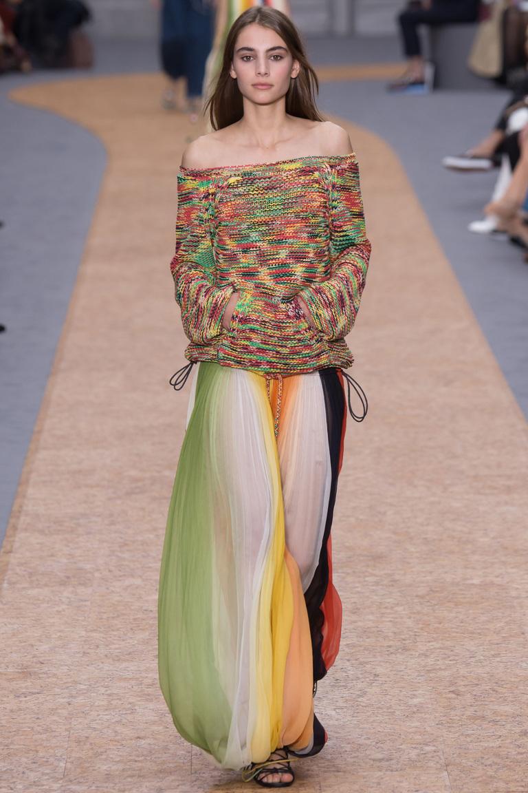 Разноцветная модная длинная юбка 2016 – фото коллекции Chloé весна-лето 2016