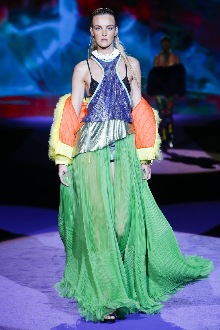 Зеленая модная длинная юбка 2016 – фото коллекции Dsquared²