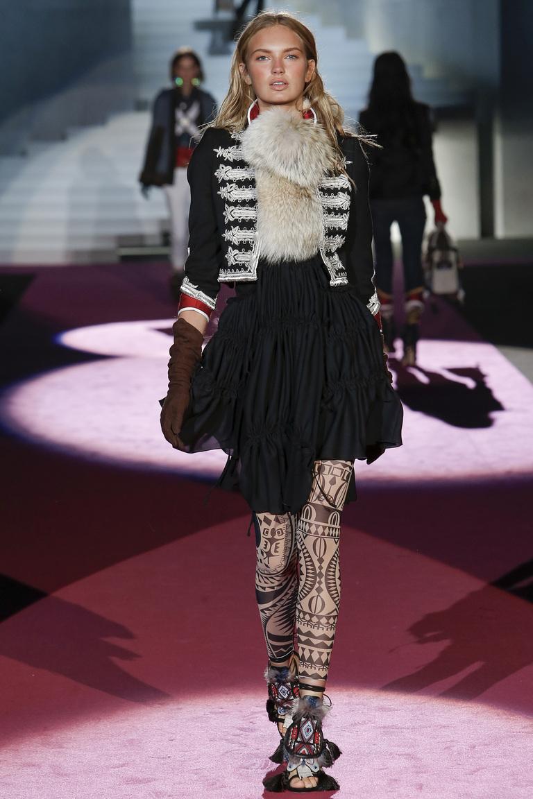 Короткая модная пышная юбка 2016 с завышенной талией — фото новинка в коллекции Dsquared²