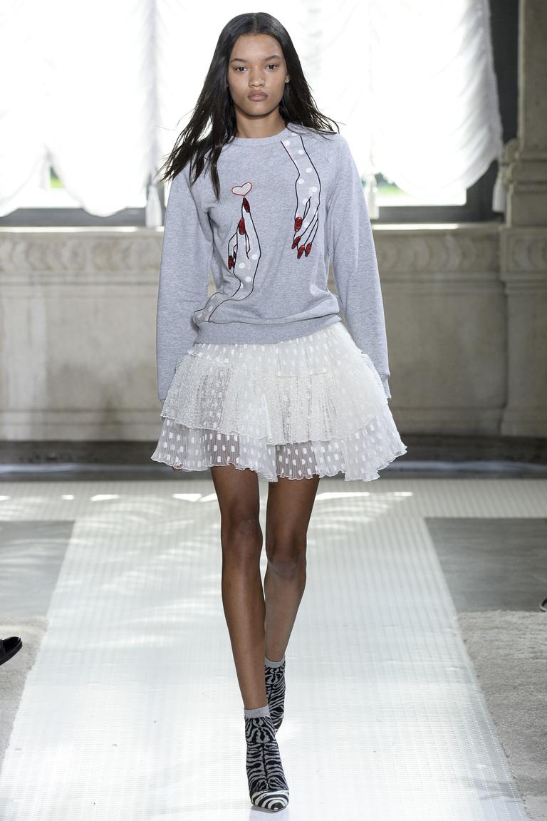 Белая полупрозрачная юбка 2016 в горошек – фото коллекции Giamba