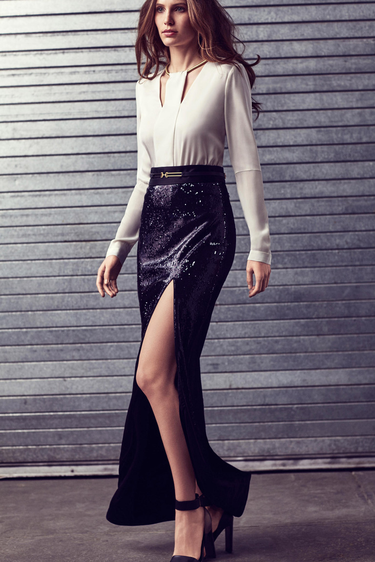 Длинная юбка с разрезом - фото новинки 2016 Halston Heritage