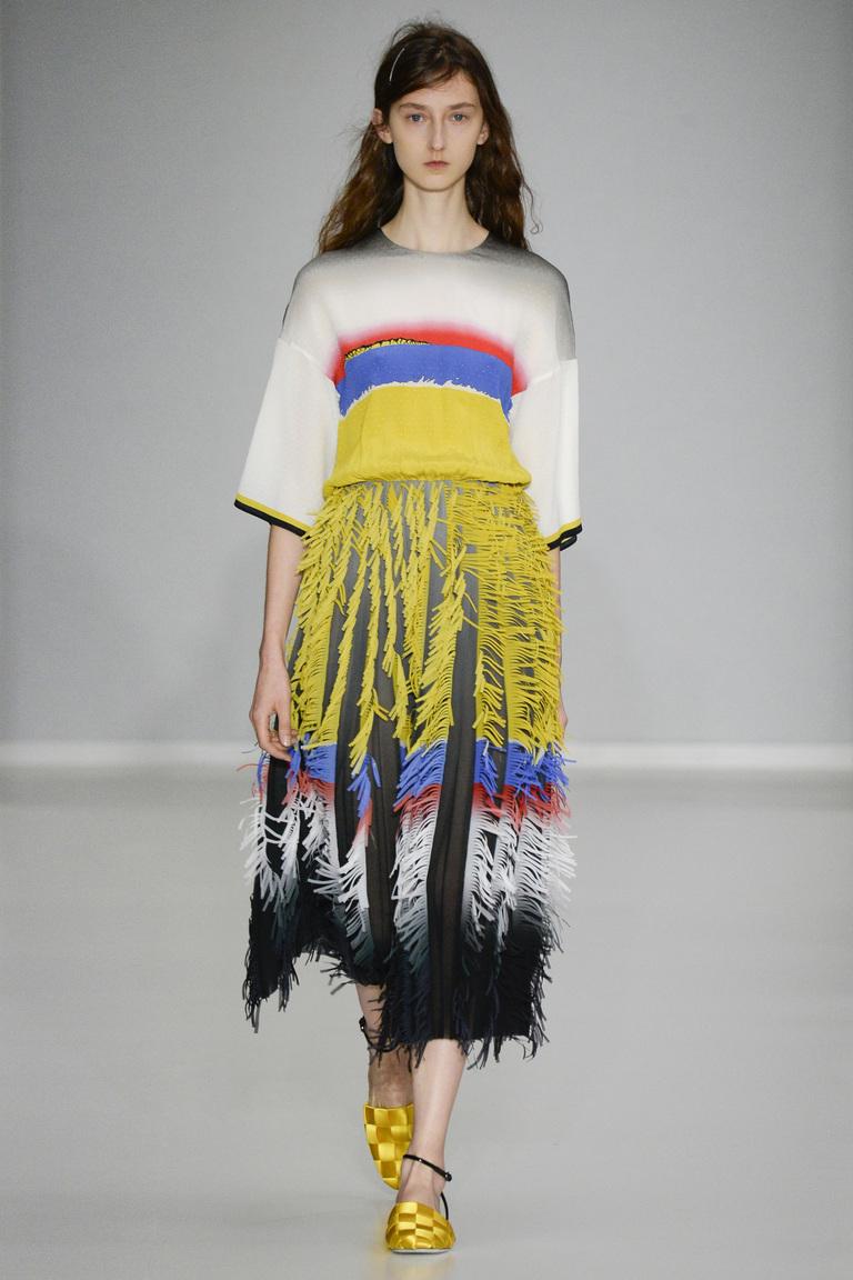 Модная юбка 2016 с перьями – фото коллекция Marco de Vincenzo