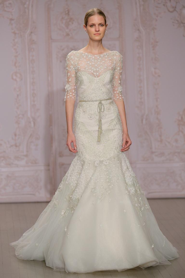 Пышное кремовое свадебное платье 2016 - фото новинка от Monique Lhuillier