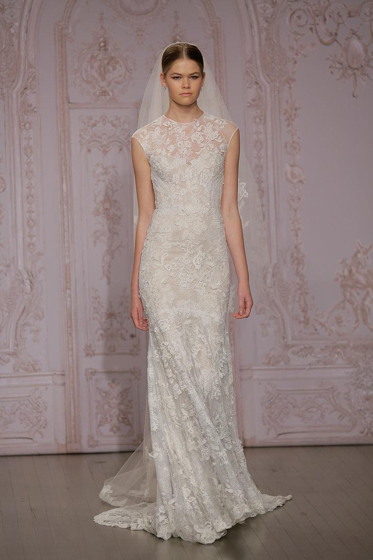 Облегающее кружевное свадебное платье мода 2016 - фото новинка от Monique Lhuillier