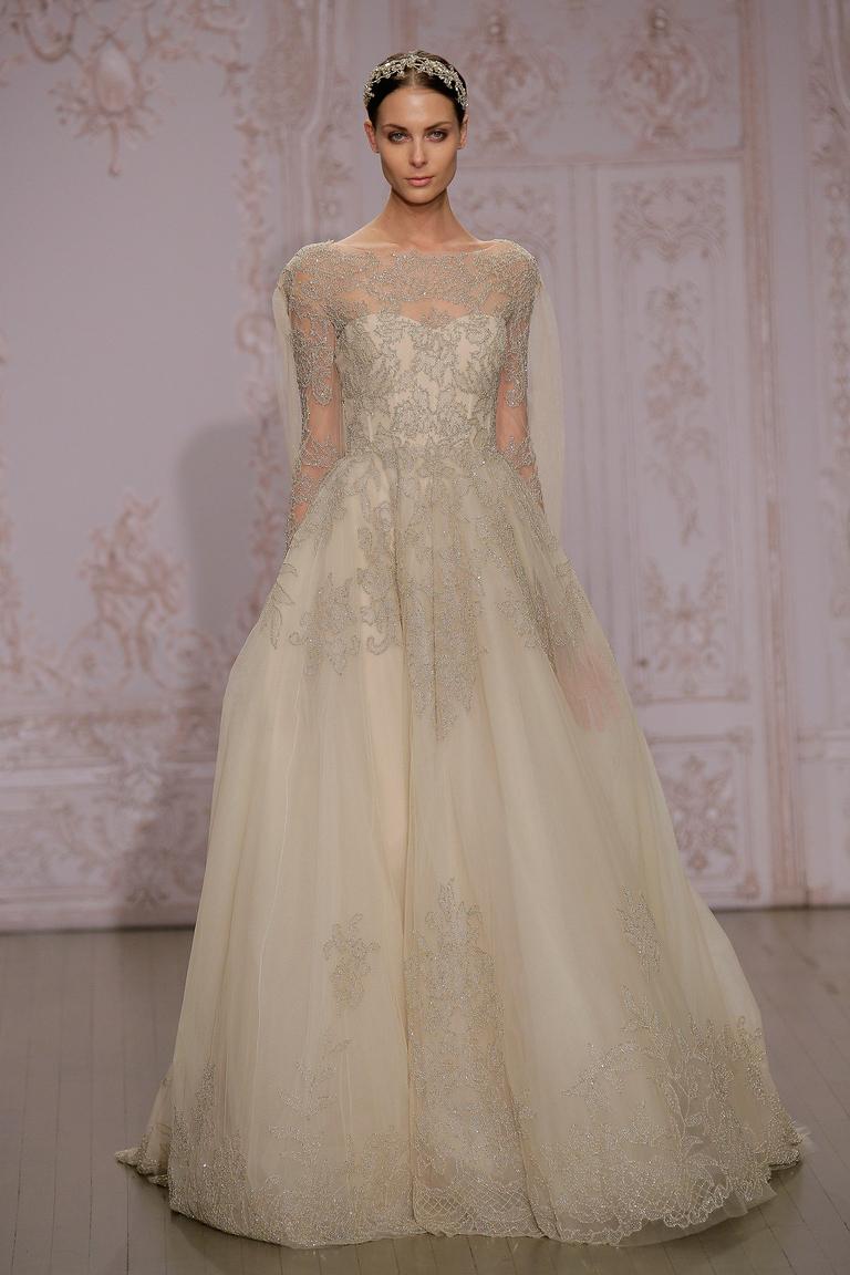 Бежевое свадебное платье 2016 - фото новинка от Monique Lhuillier