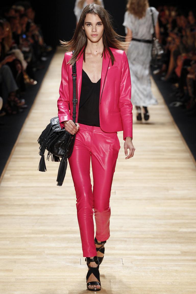 Розовые модные кожаные брюки 2016 – фото коллекции Barbara Bui