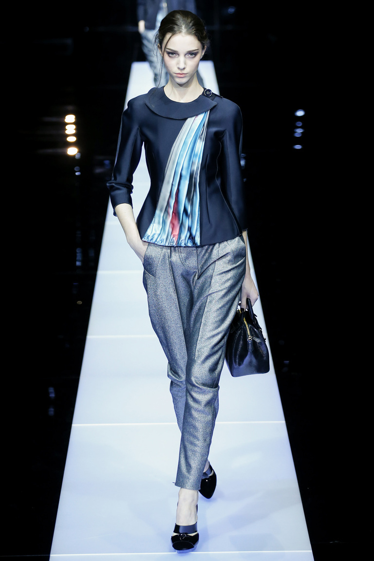 Серебристые модные брюки 2016 - фото новинки от Giorgio Armani