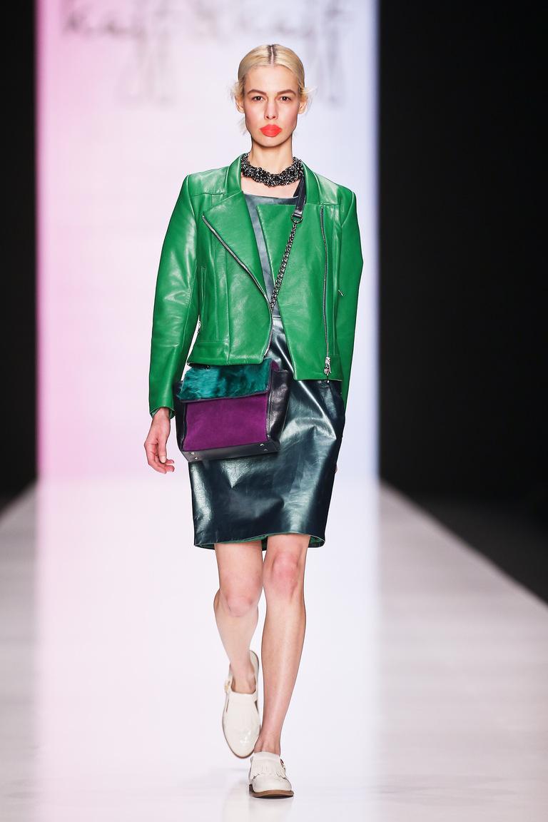 Зеленая модная кожаная куртка 2016 - фото новинки в коллекции Kajf&Kajf