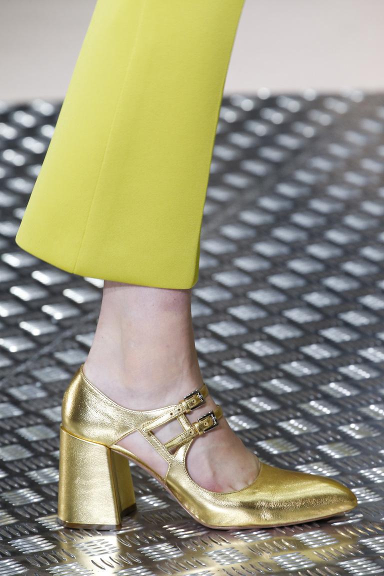 Золотистая модная обувь зима 2016 – фото новинки в коллекции Prada